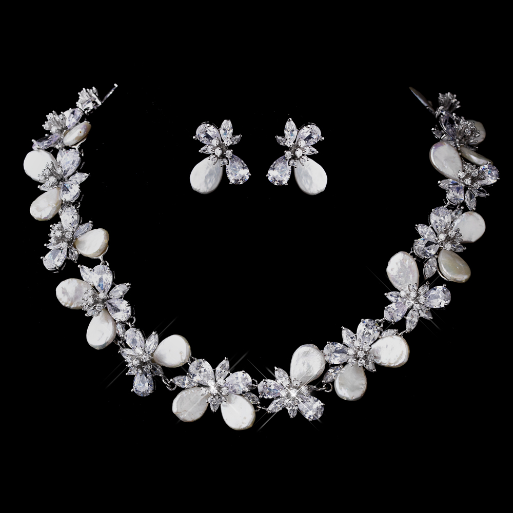 CZ Pearl Bridal Jewelry Set Elegant Bridal Hair Accessories