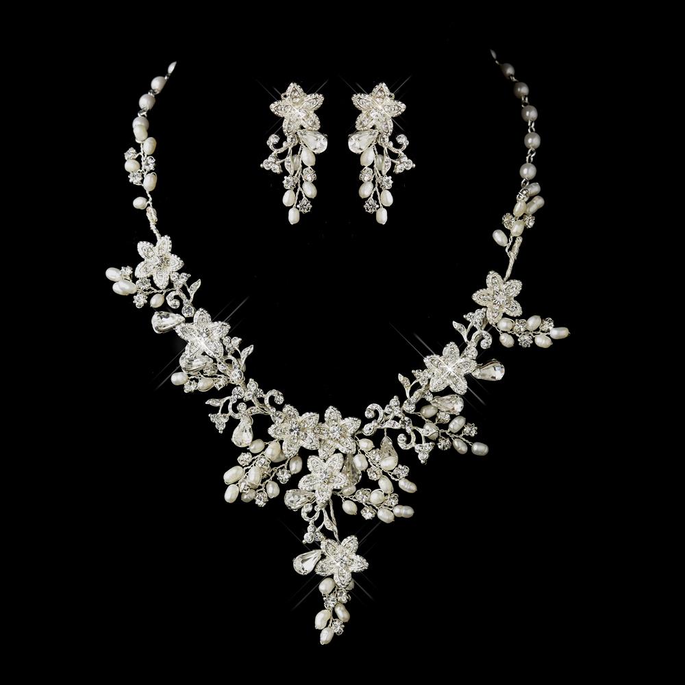 Glamorous Pearl Rhinestone Floral Bridal Jewelry Sets