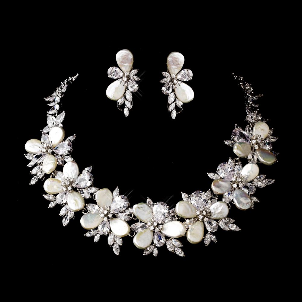Gorgeous Cz Amp Pearl Bridal Necklace Set Elegant Bridal