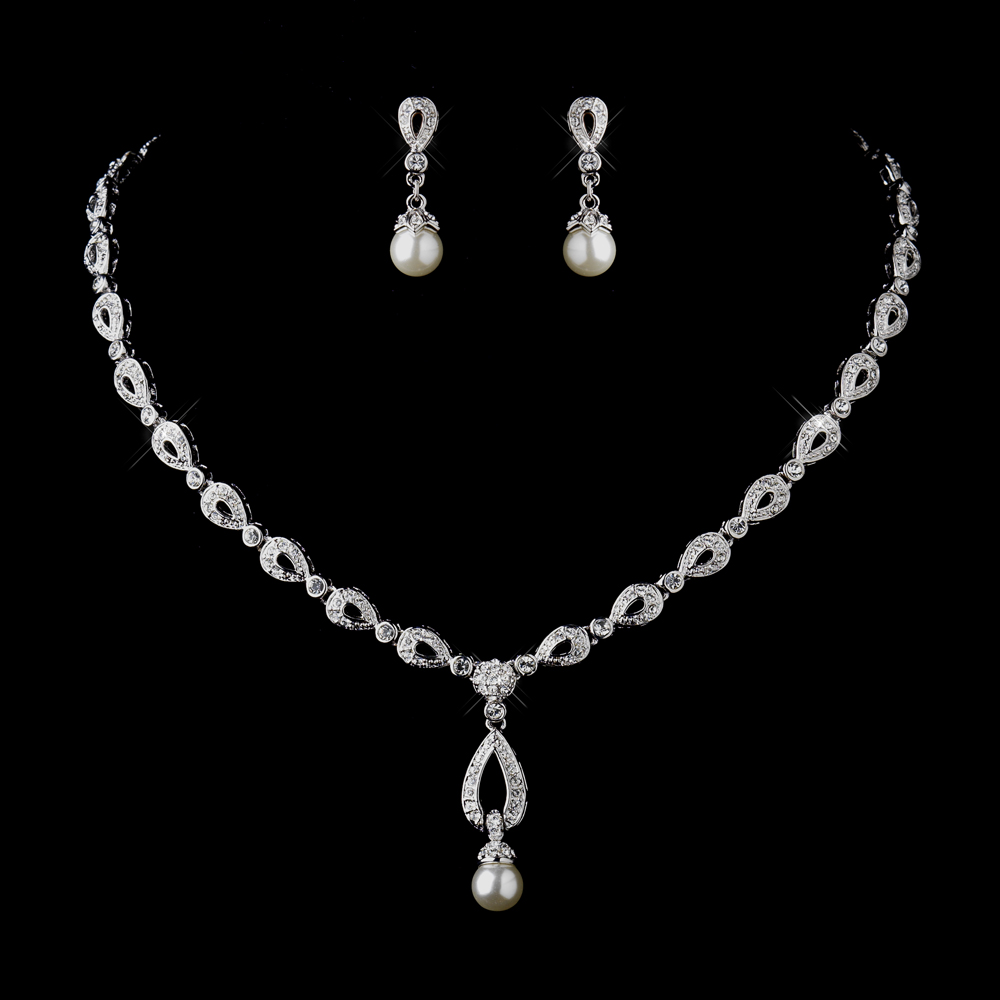 Stunning Silver Ivory Drop Pearl Bridal Jewelry Set