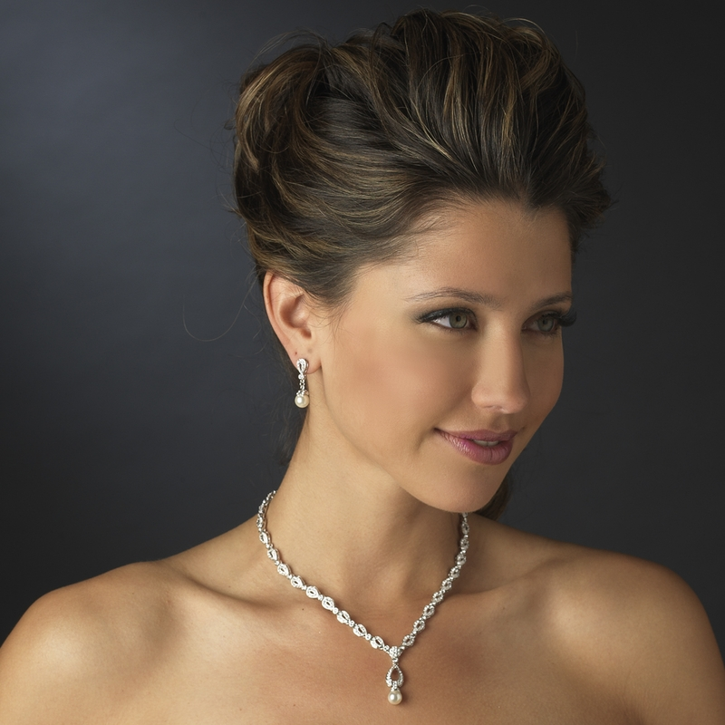 Stunning Silver Ivory Drop Pearl Bridal Jewelry Set Elegant Bridal
