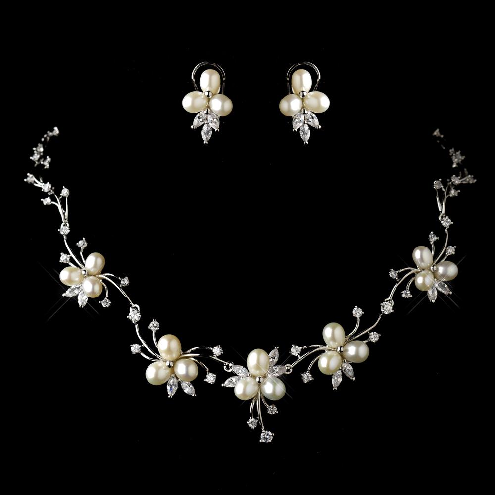 Indiangoldesigns Com Beautiful Antique Bridal Necklace: Beautiful Antique Silver Floral Necklace Set