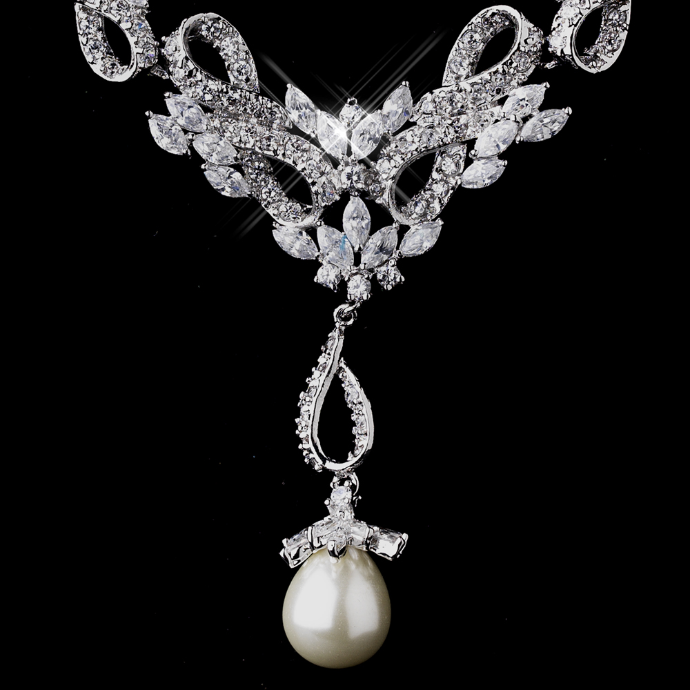 Dazzling Vintage Cz Pearl Wedding Necklace Set Elegant