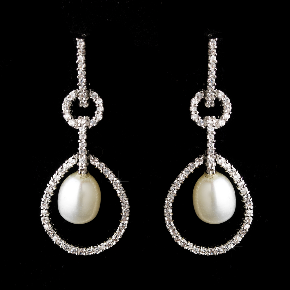 Elegant pearl rhinestone bridal earrings elegant for Decor jewelry