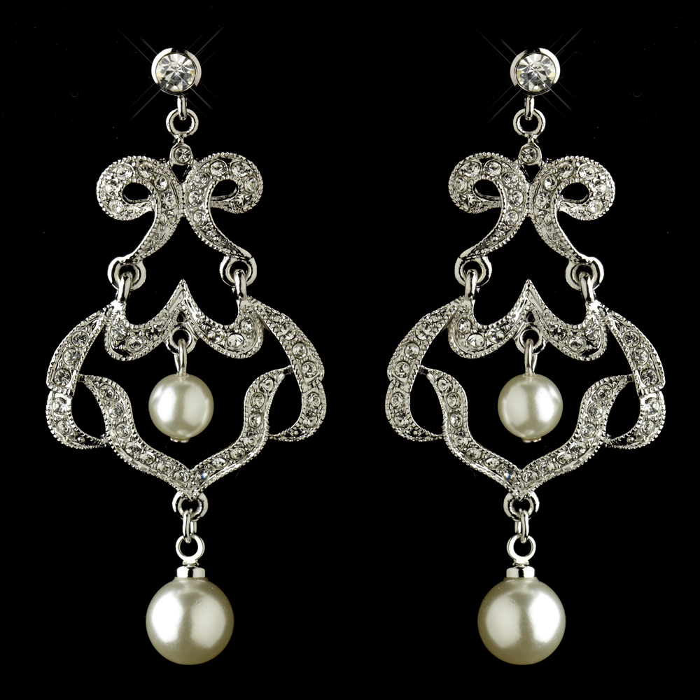 Infinity rhinestone pearl chandelier earrings elegant bridal infinity rhinestone pearl chandelier earrings arubaitofo Choice Image