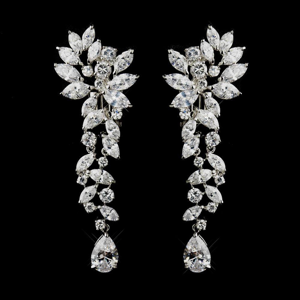 Modern Marquise Cz Drop Earrings Elegant Bridal Hair