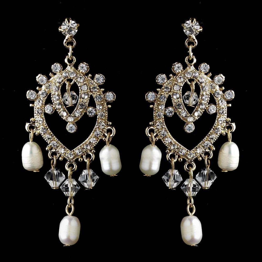 Pearl Bliss Gold Dangle Earrings Elegant Bridal Hair