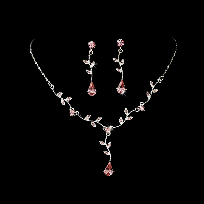 Pink jewelry sets for Pink wedding jewelry sets