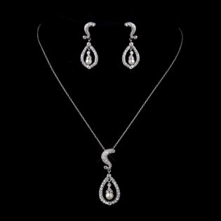 Cubic Zirconia Wedding Necklace Set