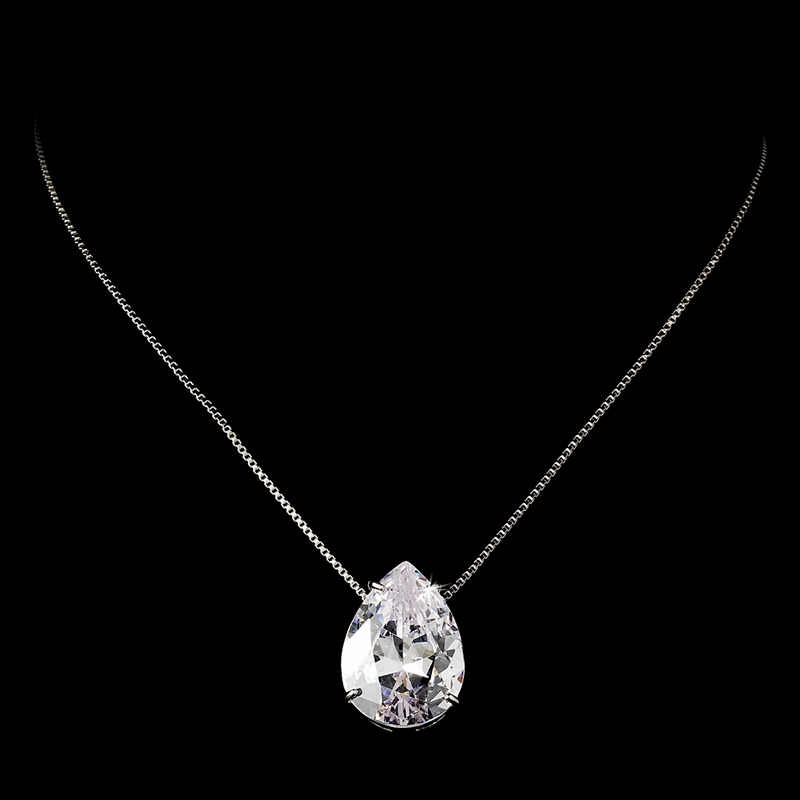 Sophisticated Cubic Zirconia Wedding Necklace Set Elegant Bridal