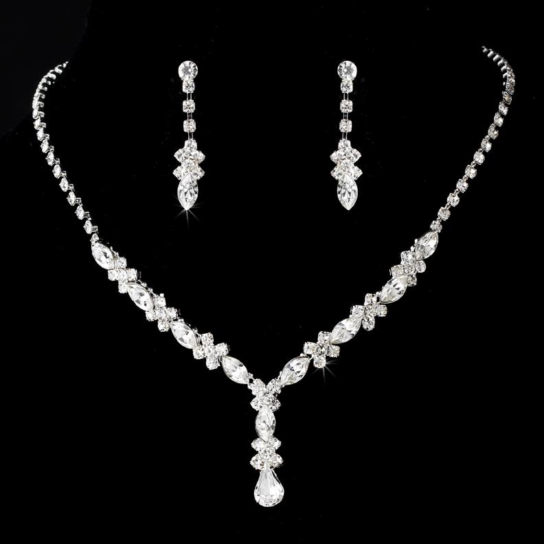 Sparkling Clear Rhinestone Jewelry Set Elegant Bridal