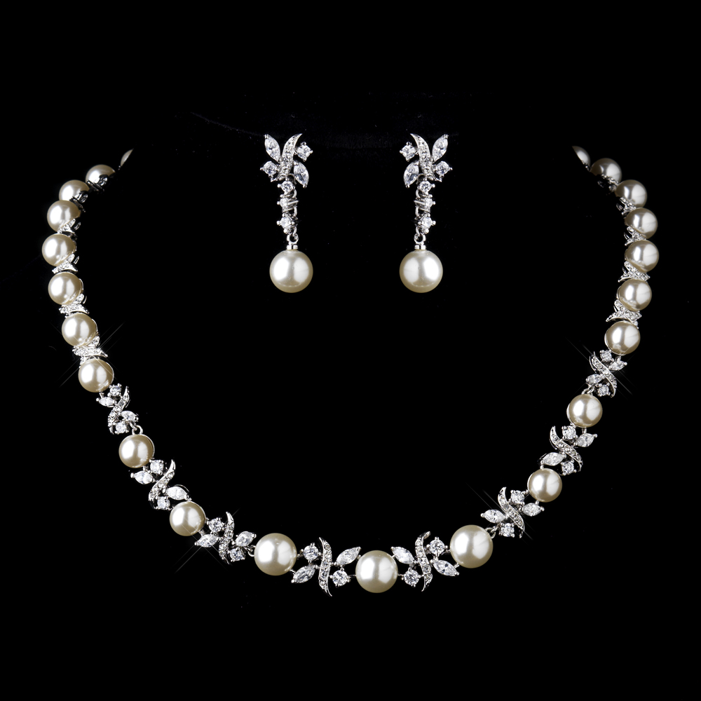 Timeless elegant pearl cz bridal jewelry set elegant for Wedding ring necklace