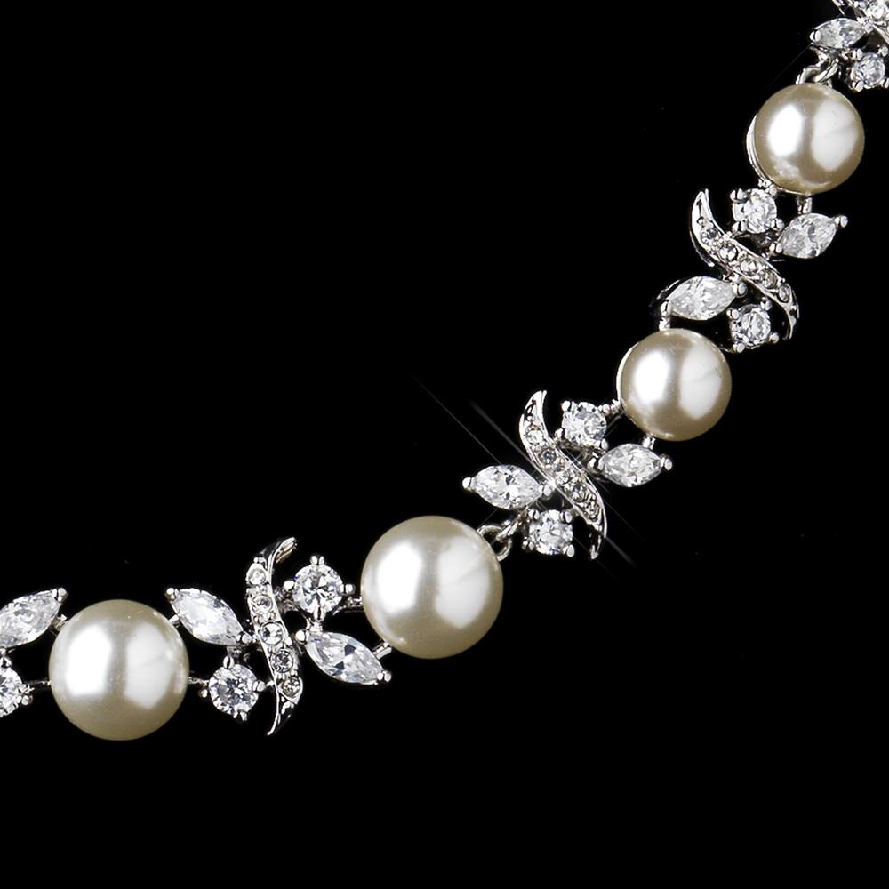 Timeless Elegant Pearl CZ Bridal Jewelry Set
