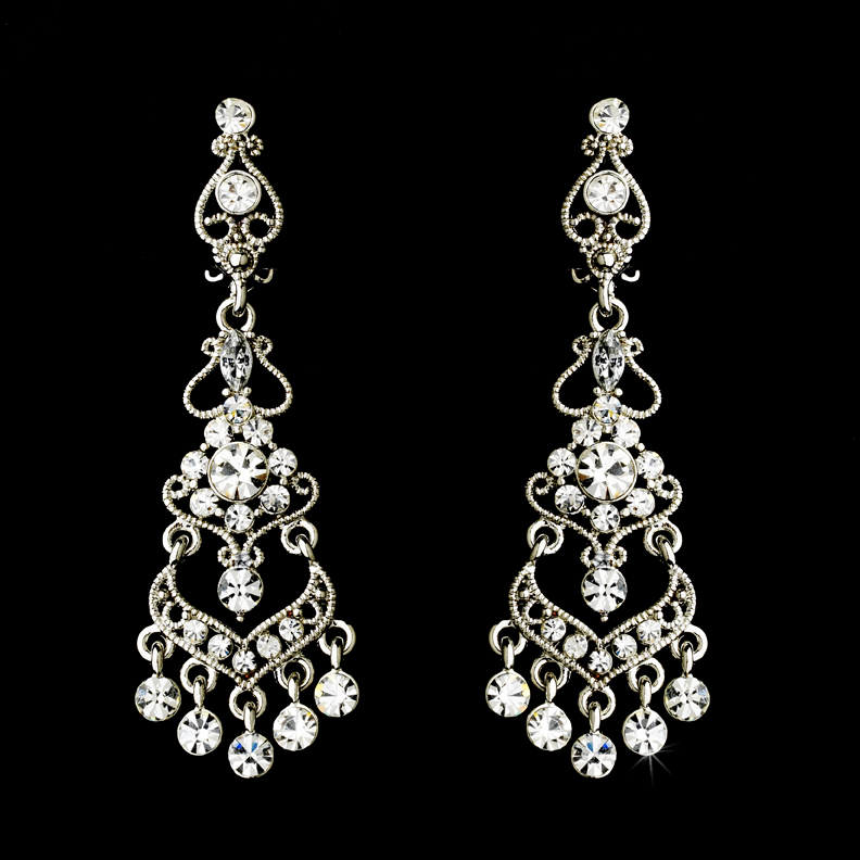 Vintage Floral Rhinestone Chandelier Clip On Earrings Elegant – Clip on Earrings Chandelier