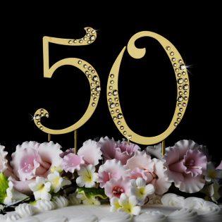 Golden Anniversary Cake Topper