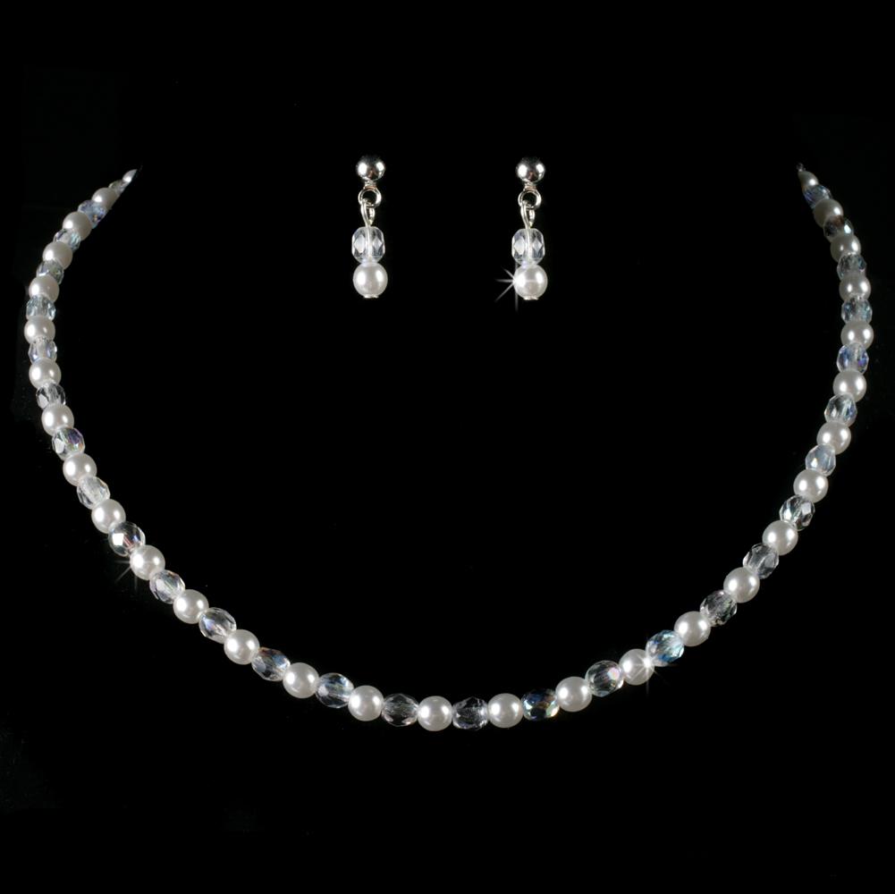 Ab Amp Pearl Flower Girl Jewelry Set Elegant Bridal Hair