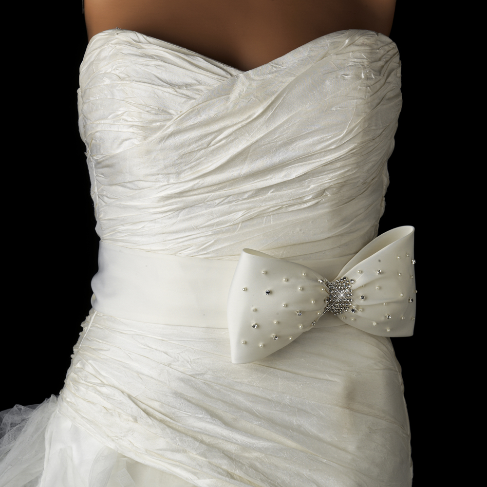 Brilliant Pearl & Rhinestone Bow Sash Belt - Elegant Bridal Hair ...
