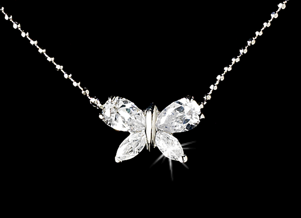 flower girl jewelry sets wedding cz butterfly flower necklace set bridal 4184