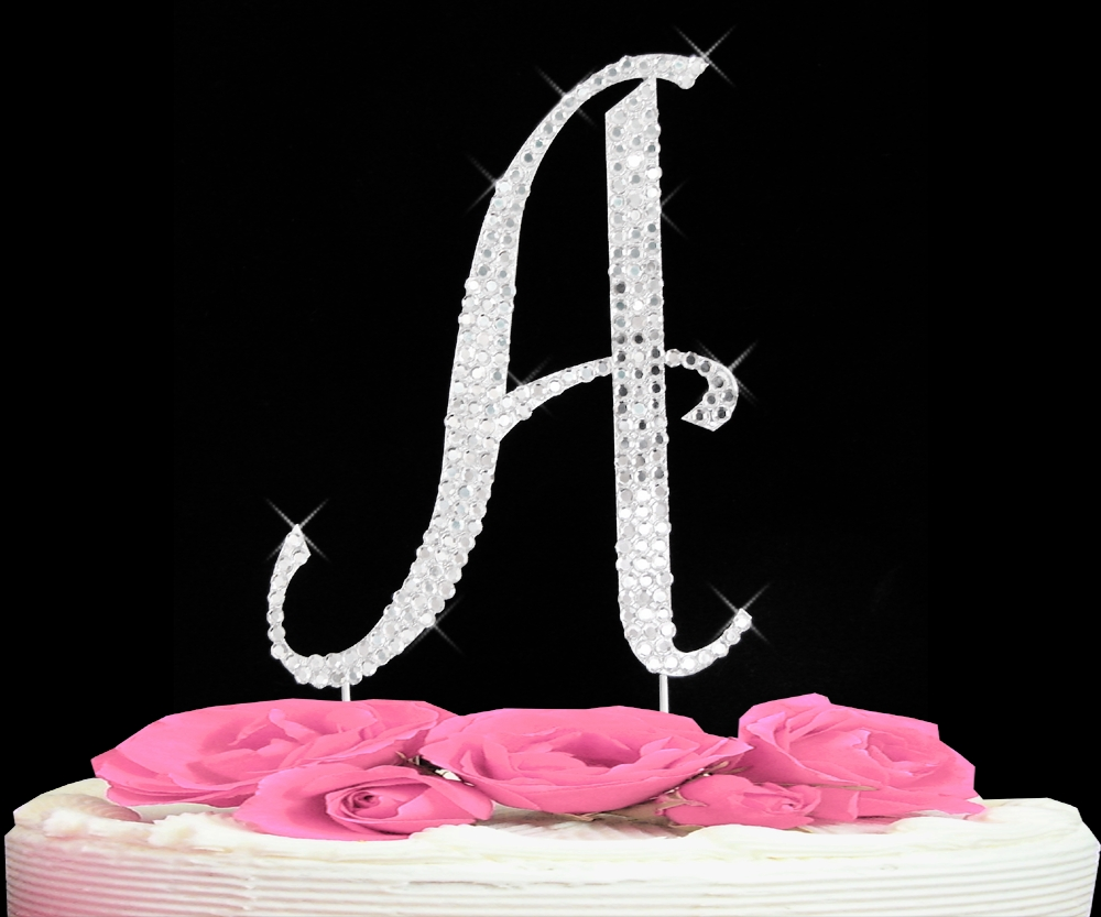 Cake Toppers Letters : Completely Covered Swarovski Initial Cake Toppers ...