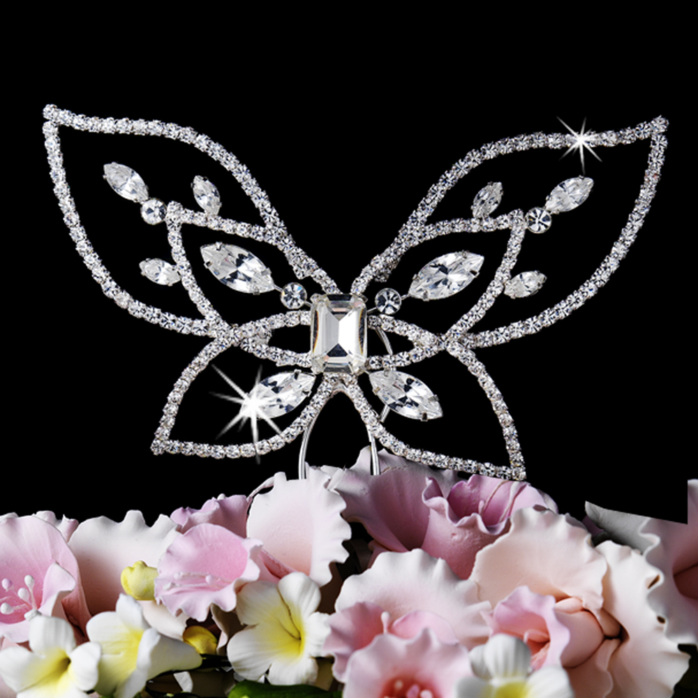 Crystal butterfly cake topper elegant bridal hair for Butterfly wedding