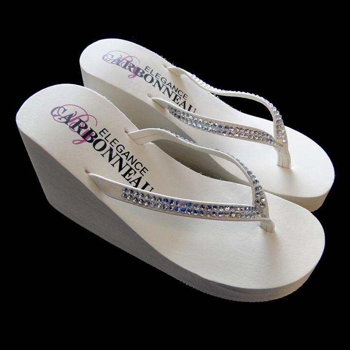 39ea4bab9 Crystal High Wedge Bridal Flip Flops - Elegant Bridal Hair Accessories