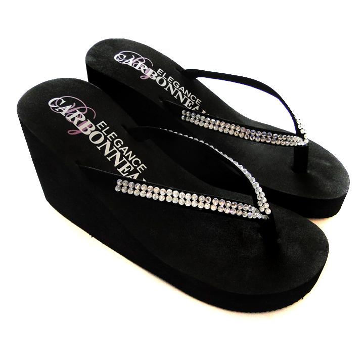 951a01e52 Crystal High Wedge Bridal Flip Flops - Elegant Bridal Hair Accessories
