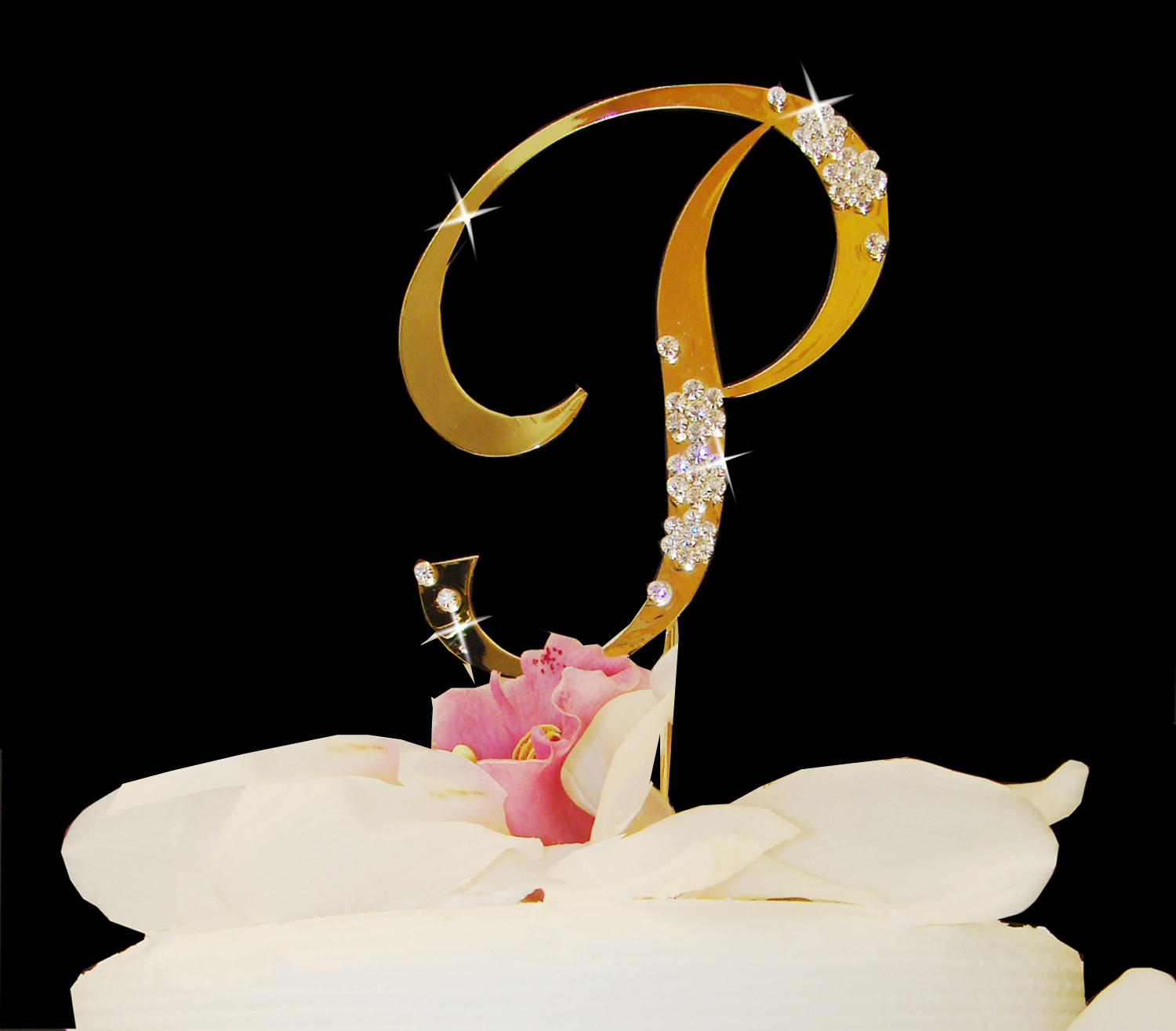 gold h wedding cake topper flower gold cake topper bridal hair 14786