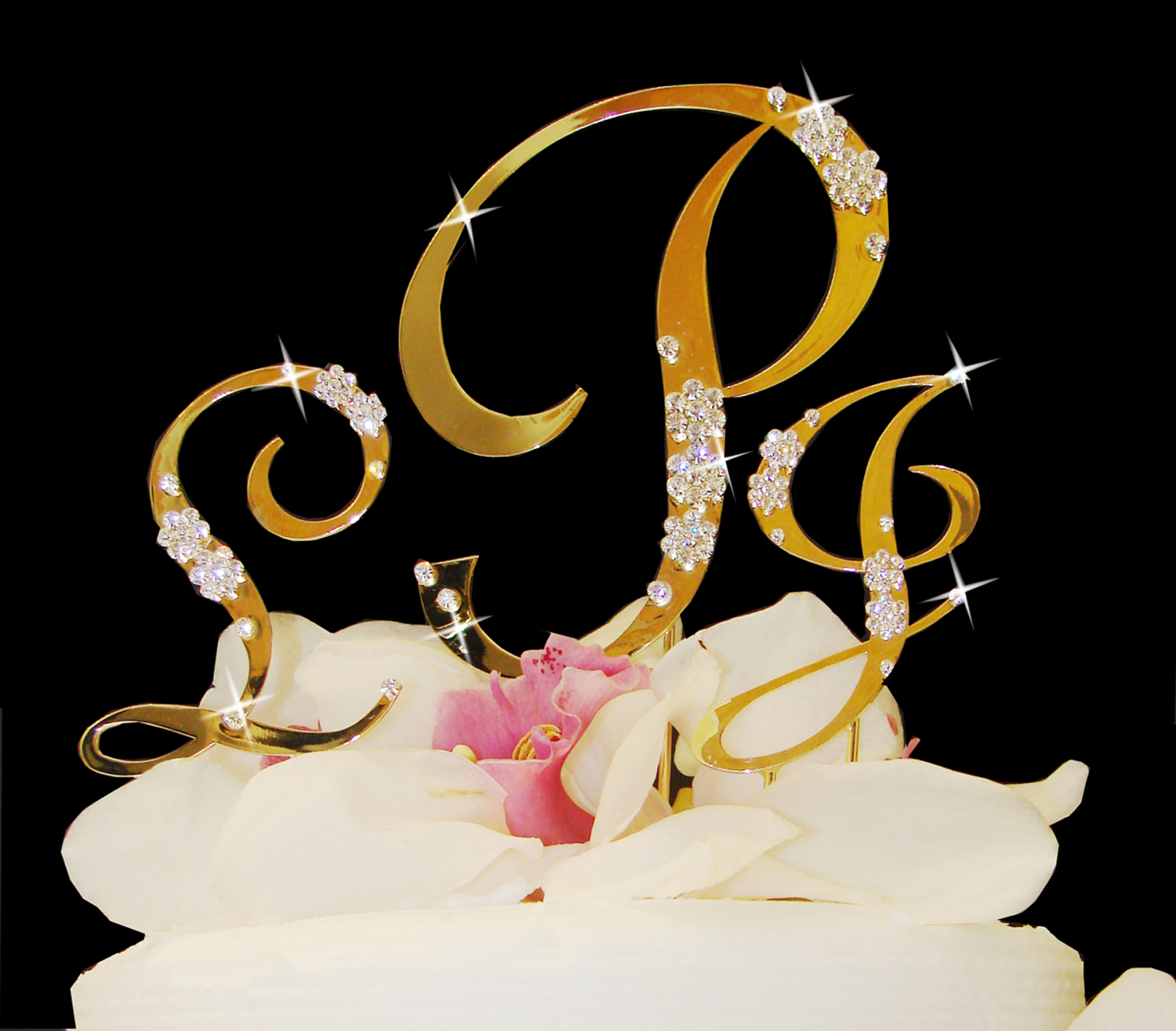 gold wedding cake toppers gold flower cake topper set 4546