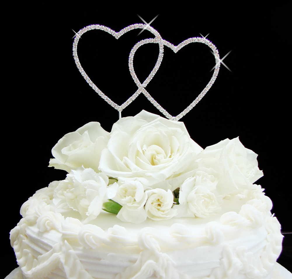 Silver Two Hearts Cake Topper