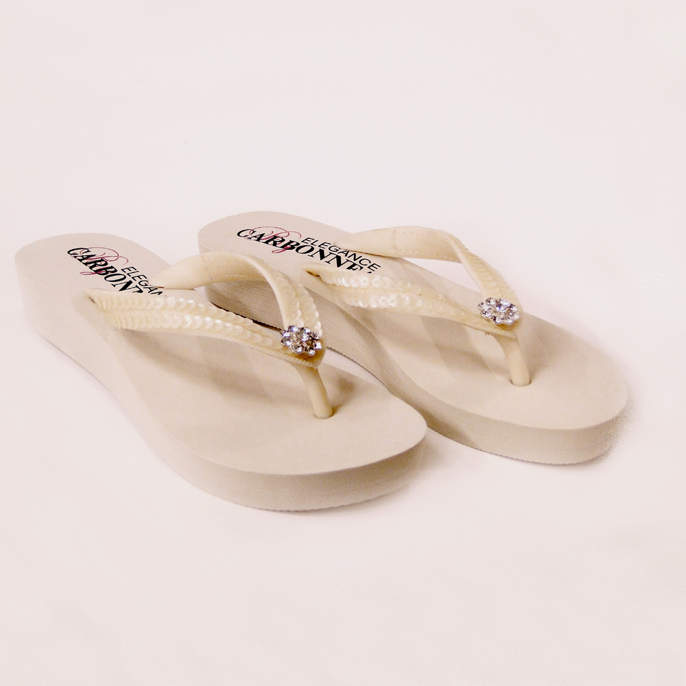 59e0a3d4036e Summer Sequin   Swarovski Bridal Flip Flops - Elegant Bridal Hair ...