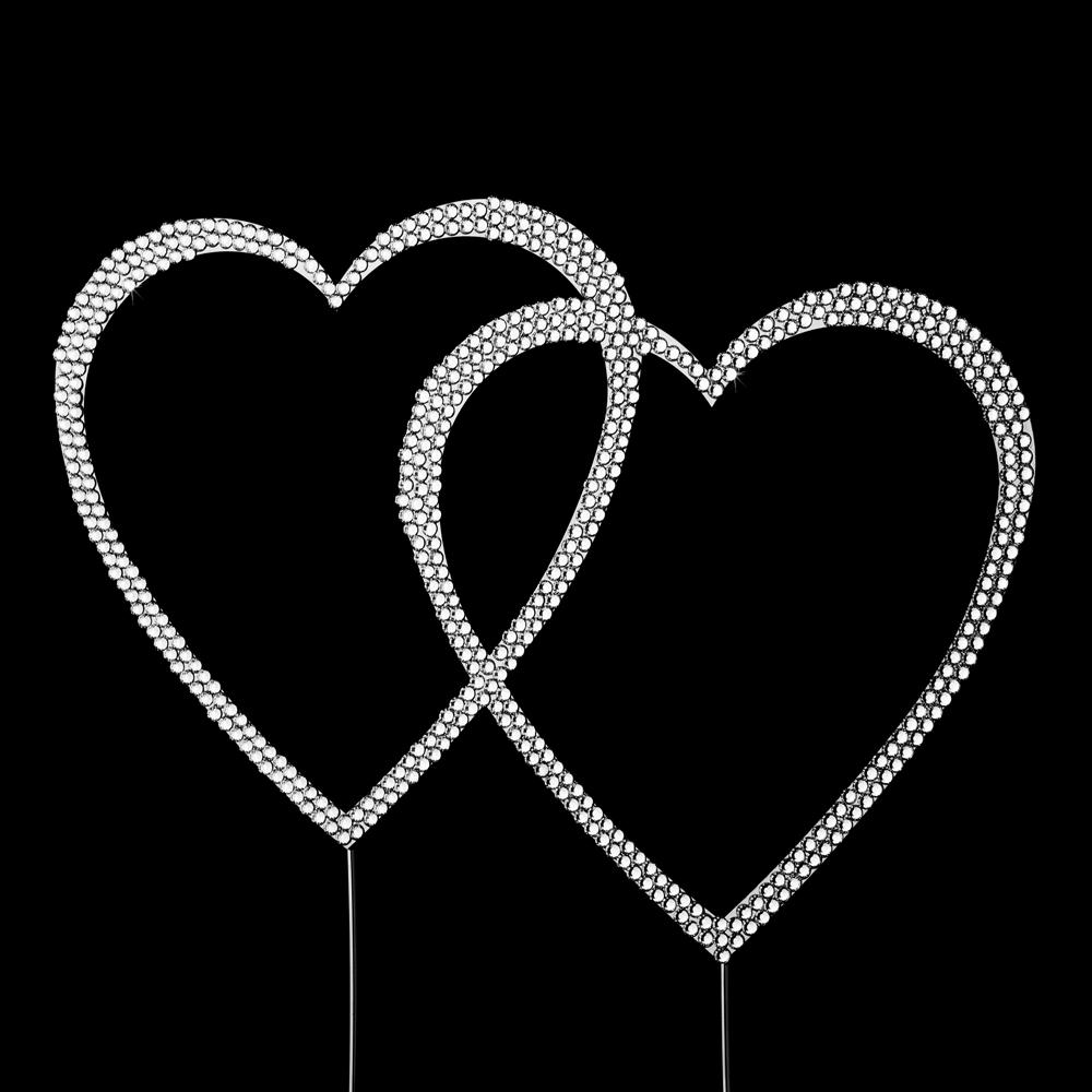 swarovski crystal double heart cake topper elegant