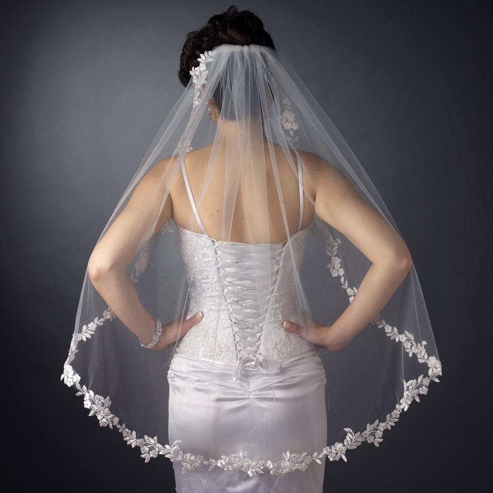 Airy Embroidered Floral Pearl Veil Elegant Bridal Hair
