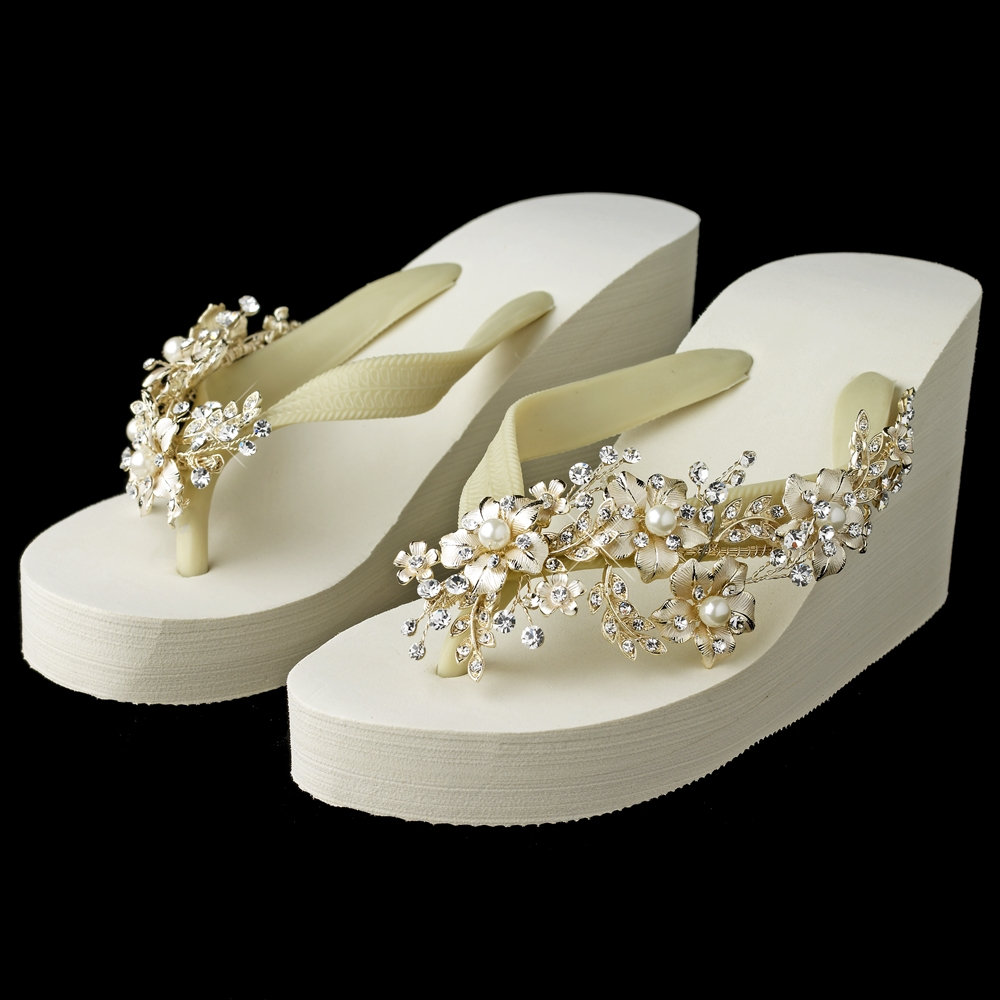 7717e93faa9a3a Lille Floral Wedge Flip Flops - Elegant Bridal Hair Accessories