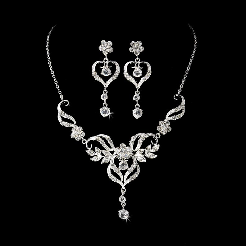 Glinted Heart Necklace Set Elegant Bridal Hair Accessories