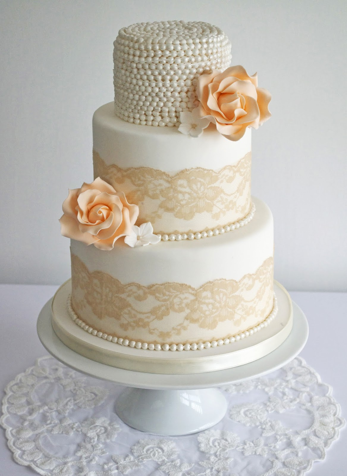Lace Pearl Wedding Cake