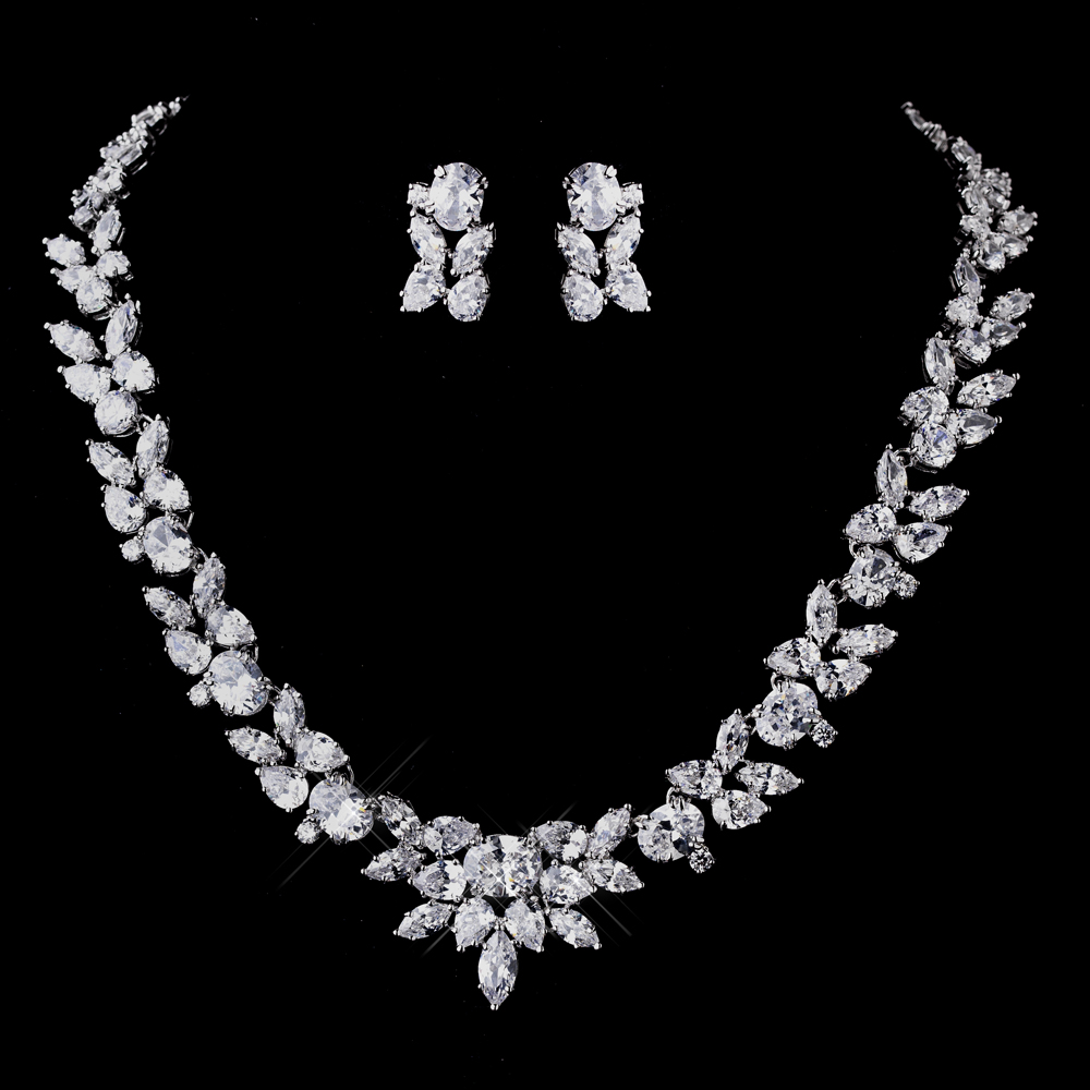 CZ Necklace Earrings Set